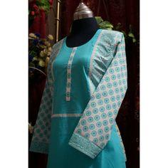 Sky Blue Kurti with Printed Sleeves