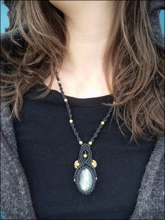 Macrame necklace with silver Obsidian by AnkaskaArt on Etsy