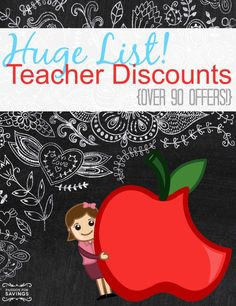 Calling all Teachers!!! I've got a HUGE List of over 90 Discounts and Freebies for Teachers! Make sure you share this list with any teachers you know!!!