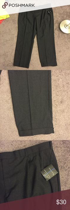 🆕 Statements Dark Gray Wool Cuffed Dress Pants 46 Brand new with tags! Thank you for looking!  46x32 performance trouser comfort fit statements Pants Dress