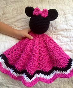 Minnie Mouse Inspired Lovey/ Security Blanket/ Soft Toy Doll/ Plush Toy/ Stuffed…