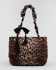 V16PQ Lanvin Leopard-Print Happy Shoulder Bag