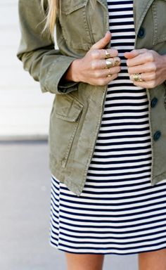 30 Ways to Wear a Utility Jacket // striped dress + utility jacket