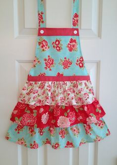 Apron, Little Girl's apron, funky vintage, perfect for a unique handmade gift, fun ruffled skirt