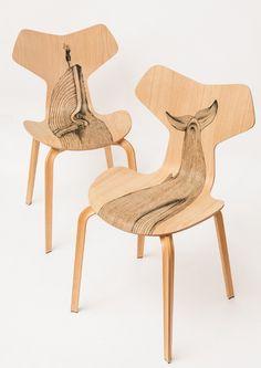 Diego Grandi for Grand Prix by Fritz Hansen, Milan Store #chair #wood #tatoo