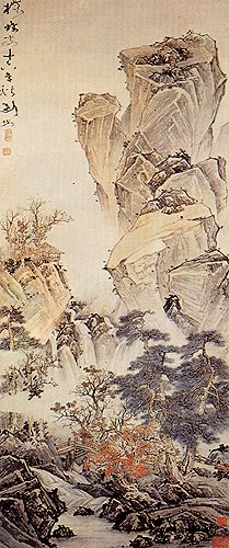 Mountain, rock, river, trees - Gao Jianfu (1879-1951), China. Lingnan School.