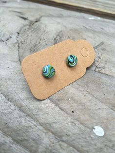 Micro blue and green stud earrings handmade from polymer clay