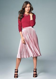 f7e34a6137b Hit  Teaming this velvet skirt with a shoulder detail jumper is a winner.