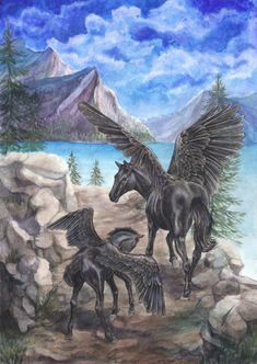 Pegasus mare and her foal Weird Creatures, Magical Creatures, Fantasy Creatures, Beautiful Creatures, Pegasus, Dragons, Lynda Barry, Winged Horse, Horse Artwork