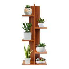 """Ebern Designs Cuddy 40"""" Bookcase Living Room Plants, House Plants Decor, Plant Decor, Plant Shelves, Wood Shelves, Wood Projects, Woodworking Projects, Square Columns, Decoration Plante"""