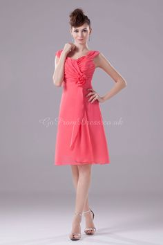 Knee-Length Bridesmaid Dress...coral.....our Lady in Red !