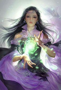 Magic - Fantasy character illustration by China based concept artist and illustrator Jun yo J. Anime Fantasy, Fantasy Girl, 3d Fantasy, Fantasy Women, Fantasy Artwork, Fantasy Princess, Fantasy Fairies, Fantasy Warrior, Fantasy Books