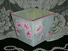 """TRINKET SQUARE BOWL 6x6.25"""" ej roses pink hp shabby chic cottage hand paint sb6"""