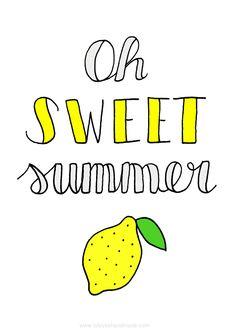 Free summer postcard or art print lemon printable via Luloveshandmade