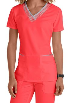 Greys Anatomy v-neck grid trim scrub top. Main Image