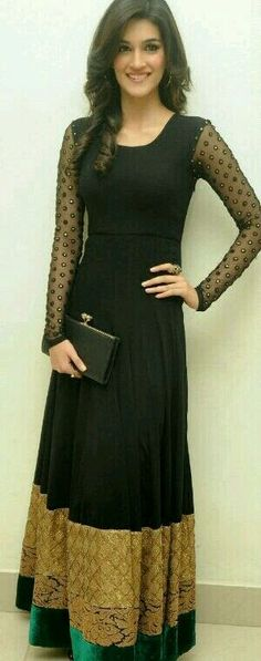 Long black anarkali gown