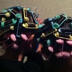 Curlers in the girls hair for a beautiful style tomorrow - they can sleep on the curlers.