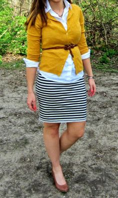 striped skirt + belted mustard cardigan + white shirt