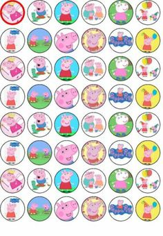 48 Peppa Pig Edible Wafer Rice Paper Cupcake Bun Fairy Cake Topper Decoration