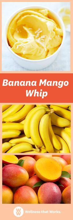 Learn how to make Banana Mango Whip. Banana Dessert Recipes, Ww Desserts, Weight Watchers Desserts, Paleo Dessert, Frozen Desserts, Frozen Treats, Healthy Sweets, Healthy Snacks, Healthy Recipes