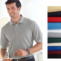 Reward your employees with style when you select this men's 5.8 oz. short-sleeve easy care polo shirt! This shirt is 65% polyester/35% cotton pique. SolarShield performance wear with UPF 30+ sun protection and moisture wicking. This shirt features no-curl welt collar and cuffs, 3-button placket, droptail and side vents. Choose from a variety of bright, bold colors! Machine wash and dry. Choose a core product best seller with this polo!