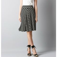 LOFT Stripe Knit Circle Skirt. Another option black grey stripe knit