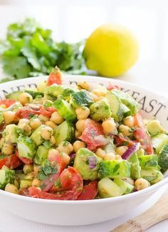 Chickpea and Avocado Garden Salad -- Delicious quick salad with a 1000 variations depending what is in your garden or fridge.