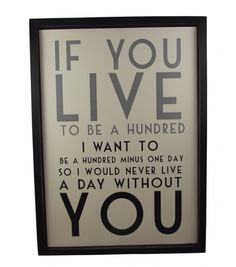 East of India If you Live to be a Hundred Framed Picture, £24.99.