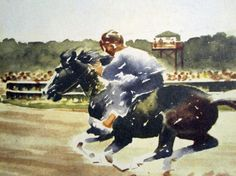 "Color illustrations from children's horse book ""Misty of Chincoteague"" -- Pony Swim and Race -- for arts, crafts"