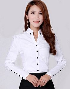 shirt running on sale at reasonable prices, buy TLZC Elegant Women Career White Shirts Size Long Sleeve Button Design Clothing 2018 Office Classic Lady Casual Blouses from mobile site on Aliexpress Now! Ladies Shirts Formal, Formal Blouses, Blouses 2017, White Shirts Women, Blouses For Women, Blouse Styles, Blouse Designs, Mode Outfits, Fashion Outfits