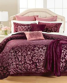7 Piece Embroidery Black Asian Water Louts Flower Comforter Set//Bedding Ensemble