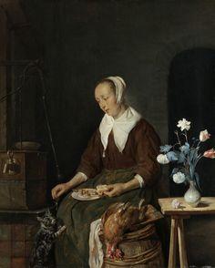 Woman Eating, Known as 'The Cat's Breakfast', Gabriël Metsu, c. 1661 - c. 1664