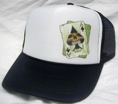 Ace of spades Skull Trucker hat - Skulls, Skater and Cool Trucker Hats & more
