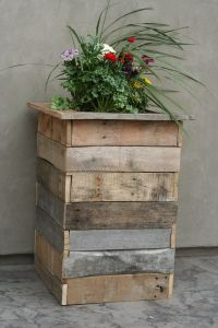 Barn Wood Planter Box - like the mixed colors here. Stain slats with color, some slats with more layers than others, maybe few stain colors, wiped down almost gone on few for variated look. Clear weatherproof stain with color added.