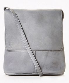 This Gray Simple Flap-Over Leather Crossbody Bag is perfect! #zulilyfinds 39.99