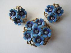 Vintage Avon Blue Enamel Rhinestone Flower Brooch by jenscloset, $22.50