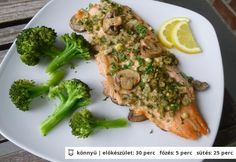Gombás pisztráng Broccoli, Sushi, Paleo, Healthy Recipes, Healthy Food, Pork, Dishes, Vegetables, Healthy Foods