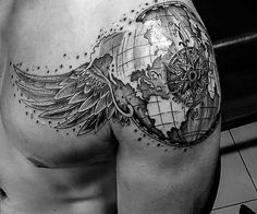 Globe with angel and wings shoulder and chest tattoo men