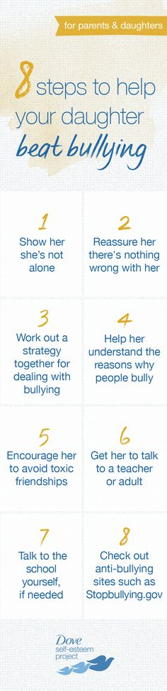 Dealing with bullying can take time, so be patient and understanding of what your daughter is going through. Show her you're there to support her and reassure her that she doesn't need to change her appearance. Use the action checklist below to help you and your daughter beat bullying together. Join us—create your own self-esteem board using #SelfEsteemProject.