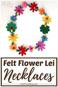 Learn how to make a flower lei necklace with this easy tutorial. Flower leis made with felt flowers and beads are a great gift idea for graduations and weddings, and, make fun birthday party favors that both kids and adults will LOVE! Easy Crafts For Kids, Toddler Crafts, Fun Crafts, Art For Kids, Paper Bag Crafts, Tissue Paper Crafts, Flower Lei, Flower Crafts, Birthday Party Favors
