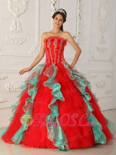 Elegant Red and Green Quinceanera Dress Strapless Appliques and Beading Ball Gown  http://www.fashionos.com  http://www.youtube.com/user/fashionoscom?feature=mhee   A unique strapless neckline is employed! The amazing quinceanera ball gown features delicate embroidery with glimmering beading on the bodice. A princess cut accents your waist. Layers of ruffle in contrasting color is a bold design. You will be the front-line of fashion with it!