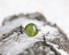 Real leaf ring nature lover gift green resin by UralNature