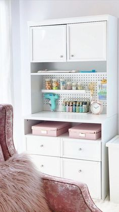 Craftform Sewing and Craft Hutch with Pegboard. Via Be My Guest With Denise #craftcorner #craftroom #craftstorage #crafting #sewing #storage #organization