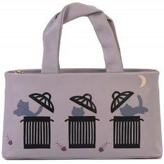 Ciccia Alley Cat Trash Can Leather Grab Bag Handbag Bags