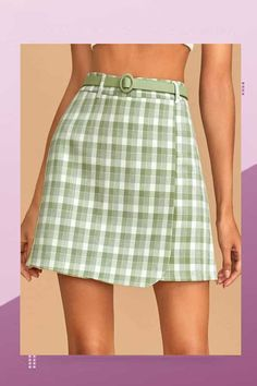 Style: Preppy Color: Green Pattern Type: Plaid Length: Mini Type: A Line Details: Wrap Season: Summer Composition: Polyester Material: Polyester Fabric: Non-stretch Sheer: No Waist Type: High Waist Belt: Yes Lining: Yes Green Plaid Skirt, Fashion News, Fashion Online, Latest Fashion Dresses, Cropped Cardigan, Green Pattern, Casual Skirts, Romwe, Preppy