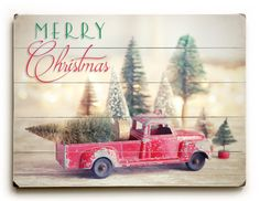 Wooden Christmas Sign, Red Truck and Trees Christmas Decor on Wood, Rustic Christmas Sign, Wood Panel Art, Ready to Hang Art Wood Plank Sign