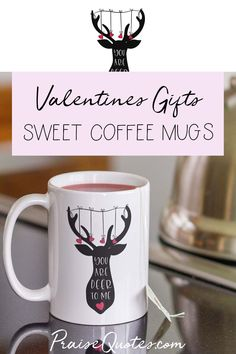 Show your love to your dear one with this charming mug. Printed on the back and front with a large silhouette of a deer and the words: You are my deer one, this sweet mug will be sure to express your feelings. #dearhead  #valentinesday #love #mugs #praisequotes