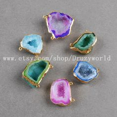 Gold Plated Rainbow Angel Druzy Geode Connector Gold by Druzyworld