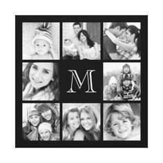 Custom Monogram Family Photo Collage Canvas Stretched Canvas Print
