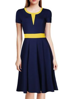 online shopping for WOOSEA Women's Short Sleeve Colorblock Slim Bodycon Business Swing Dress from top store. See new offer for WOOSEA Women's Short Sleeve Colorblock Slim Bodycon Business Swing Dress Pencil Dress, Skater Dress, Modest Dresses, Casual Dresses, Dress Outfits, Fashion Dresses, Vestidos Vintage, Dress Silhouette, Swing Dress
